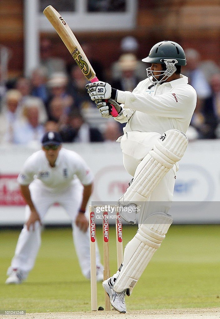 Bangladeshi cricketer Tamim Iqbal (R) bats on the second day of the first Test match against England at Lord's Cricket Ground in London, on May 28, 2010.