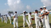 Bangladeshi cricketers leave the grounds after their first Test match against New Zealand at the Chittagong Divisional Stadium in Chittagong on...