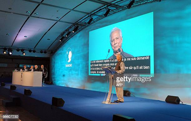 Bangladeshi economist and Nobel laureate Muhammad Yunus addresses French food giant Danone general meeting in Paris on April 22 2010 as Danone's...