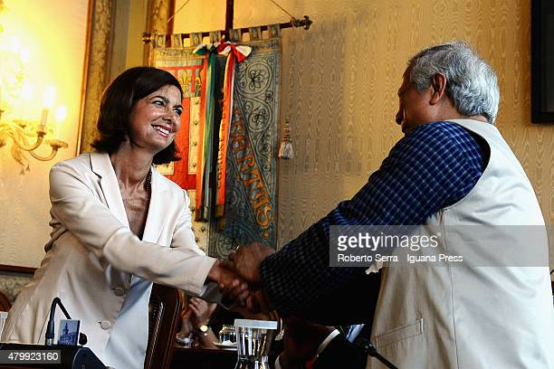 Bangladeshi economist Muhammad Yunus Nobel Prize in 2006 for Peace receives the honorary cityzenship of Bologna by Laura Boldrini President of yhe...