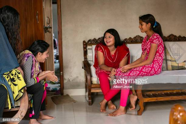 Meghla hangs out with her friends March 7 2017 in Khulna division Bangladesh 17yearold Meghla married her 30yearold husband Liton during an arranged...