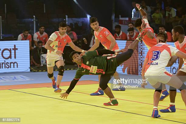 Bangladeshi kabaddi player MD Zakir Hossain atempts against England opponents during a match between England and Bangladesh at the TransStadia in...