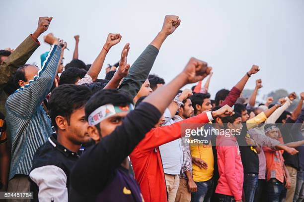 Bangladeshi people taking oath to make a better Bangladesh during a rally to mark the country's Victory Day in Dhaka on December 16 2015 Bangladesh...