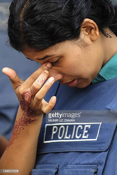 A Bangladeshi police woman stands guard during a nationwide strike in Dhaka on April 24 2012 The BNP will continue enforcing its nationwide...