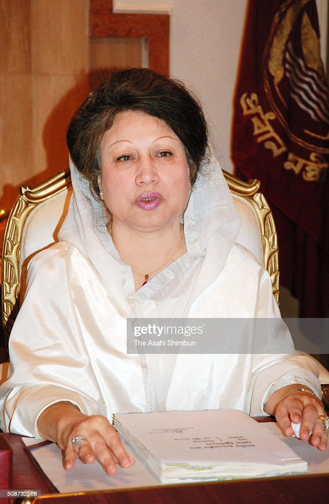 Bangladeshi Prime Minister <a gi-track='captionPersonalityLinkClicked' href=/galleries/search?phrase=Khaleda+Zia&family=editorial&specificpeople=647544 ng-click='$event.stopPropagation()'>Khaleda Zia</a> speaks during the Asahi Shimbun interview at the Prime Minister's office on June 28, 2005 in Dhaka, Bangladesh.