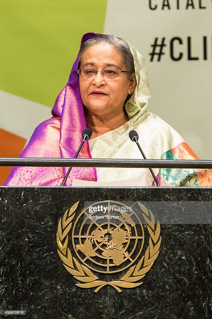 Bangladeshi Prime Minister Sheikh Hasina speaks at the United Nations Climate Summit on September 23, 2014 in New York City. The summit, which is meeting one day before the UN General Assembly begins, is bringing together world leaders, scientists and activists looking to curb climate change.