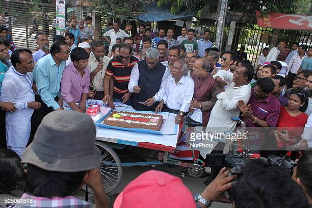 Bangladeshi Prime Minister Sheikh Hasina's birthday celebrated on street in front of press club by cutting cake organised by Bangobondhu peshajibi...