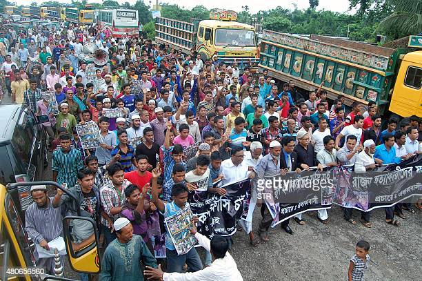 Bangladeshi protesters gather during a demonstration on July 14 2015 against the lynching of a 13yearold boy in Sylhet Outrage over the lynching of a...