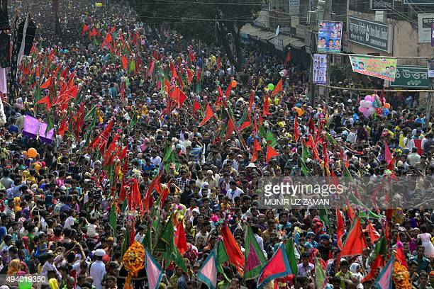 Bangladeshi Shiite Muslims perform a ritual as they take part in a religious procession during the Ashura mourning period in Dhaka on October 24 2015...