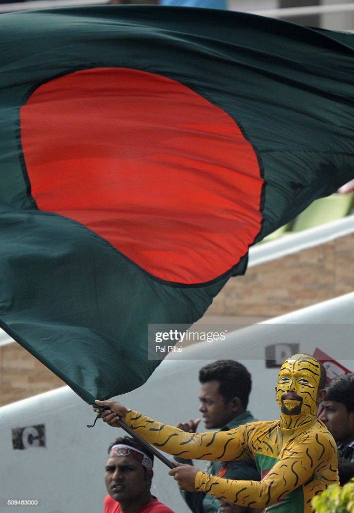 Bangladeshi supports cheer during the ICC U 19 World Cup Semi-Final match between Bangladesh and West Indies on February 11, 2016 in Dhaka, Bangladesh.