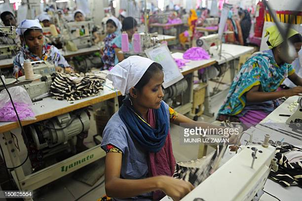 Bangladeshi women work in a garments factory in Dhaka on April 16 2012 The textiles and clothing industry is Bangladesh's biggest export earner with...