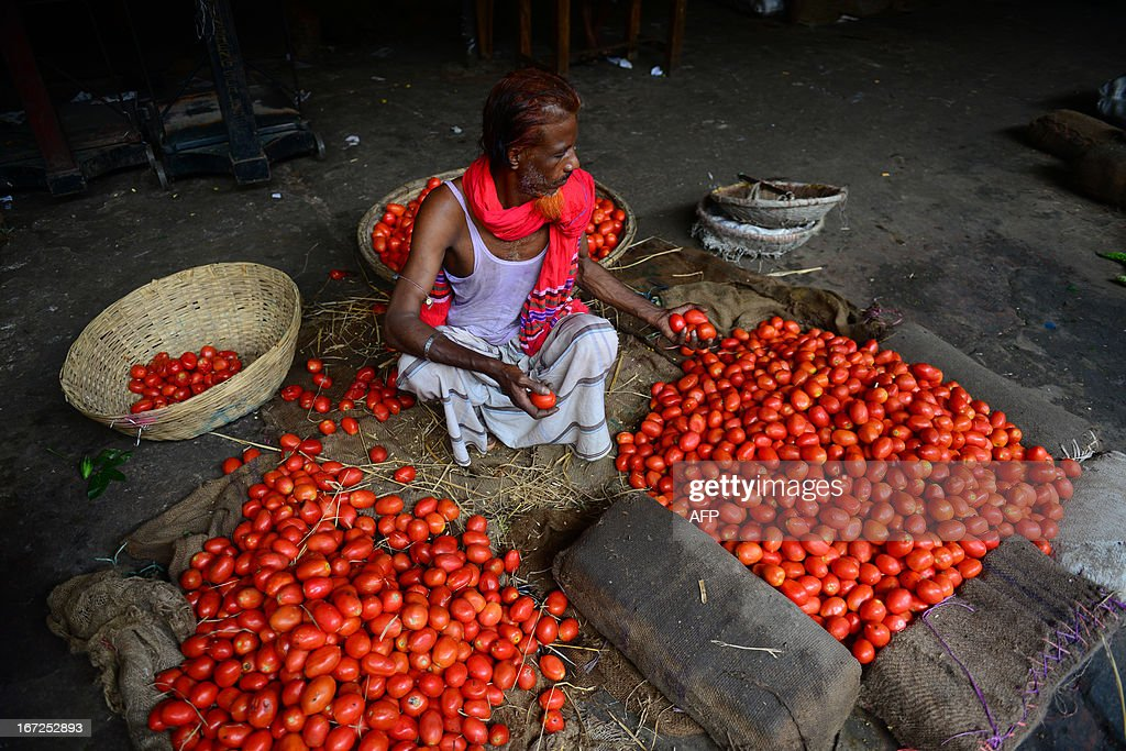 A Bangladeshi worker sorts tomatoes at a wholesale market in Dhaka on April 23, 2013, during a nationwide strike called by the Bangladeshi Nationalist Party (BNP) in protest against the detention of their leaders. The opposition alliance's 36-hour nationwide shutdown is being held to press for the release of their top leaders. Recent weeks in the South Asian nation have seen a nationwide crackdown on the opposition including the detention of more than 200 senior officials of the Bangladesh Nationalist Party (BNP) and the entire leadership of the largest Islamic party, Jamaat-e-Islami. AFP PHOTO/Munir uz ZAMAN
