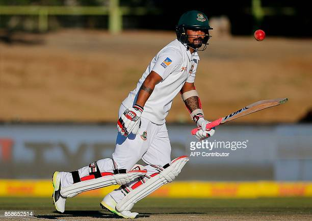 Bangladesh's batsman Liton Das watches the ball after playing a shot during the second day of the second Test cricket match between South Africa and...