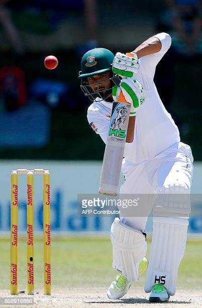 Bangladesh's batsman Mahmudallah plays a shot during the third day of the second Test cricket match between South Africa and Bangladesh in...