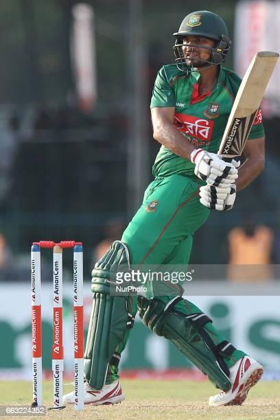 Bangladesh's captain Mashrafe Mortaza plays a shot during the third oneday international cricket match between Sri Lanka amp Bangladesh at SSC in...