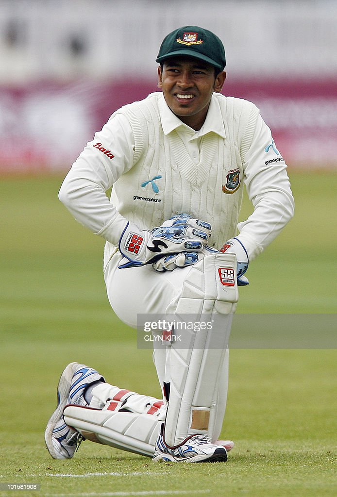 Bangladesh's Mushfiqur Rahim reacts on the first day of the first Test match against England at Lord's Cricket Ground in London, England on May 27, 2010.