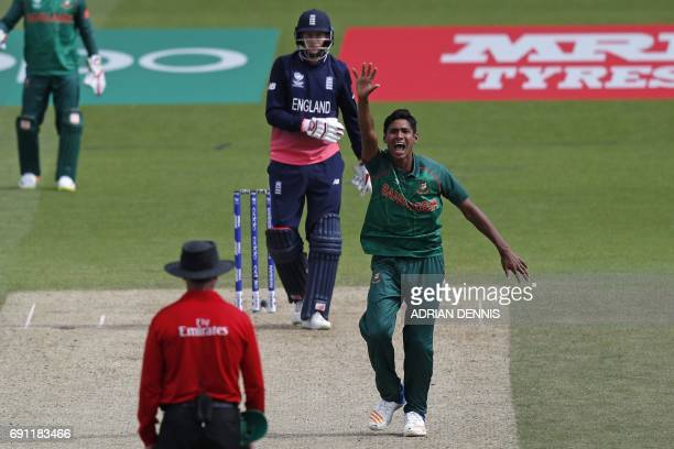 Bangladesh's Mustafizur Rahman appeals unsuccessfully for the wicket of England's Joe Root during the ICC Champions trophy cricket match between...