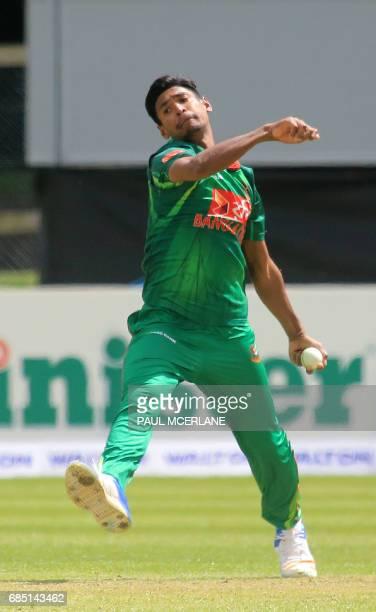 Bangladesh's Mustafizur Rahman bowls during play in the fourth ODI match of the Ireland TriNation Series between Ireland and Bangladesh at the...