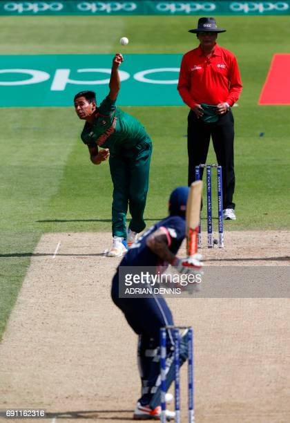 Bangladesh's Mustafizur Rahman bowls during the ICC Champions trophy cricket match between England and Bangladesh at The Oval in London on June 1...