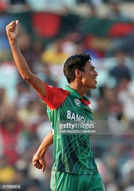 Bangladesh's Mustafizur Rahman celebrates a wicket during the World T20 cricket tournament match between Bangladesh and New Zealand at The Eden...