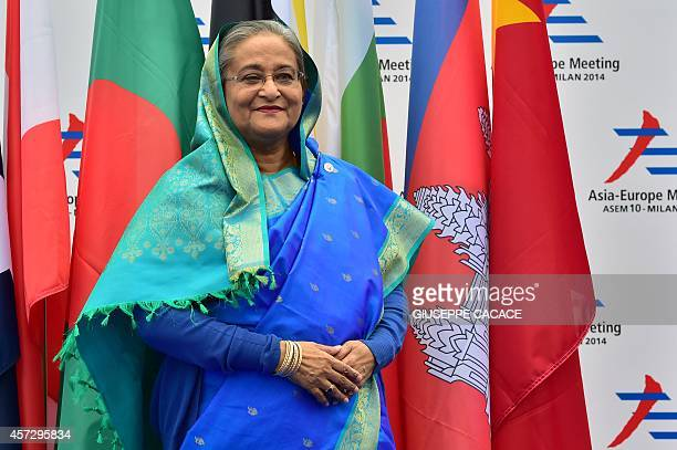 Bangladesh's Prime Minister Hasina Sheik arrives to attend the 10th AsiaEurope Meeting on October 16 2014 in Milan The AsiaEurope Meeting was created...
