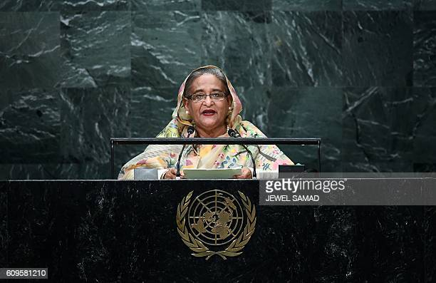 Bangladesh's Prime Minister Sheikh Hasina addresses the 71st session of United Nations General Assembly at the UN headquarters in New York on...
