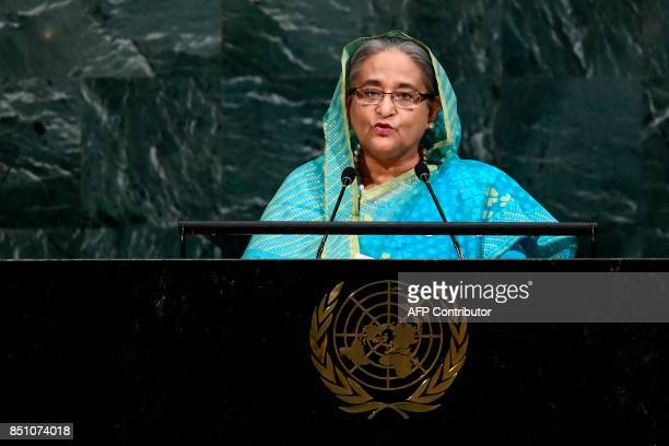Bangladeshs Prime Minister Sheikh Hasina addresses the 72nd Session of the United Nations General assembly at the UN headquarters in New York on...