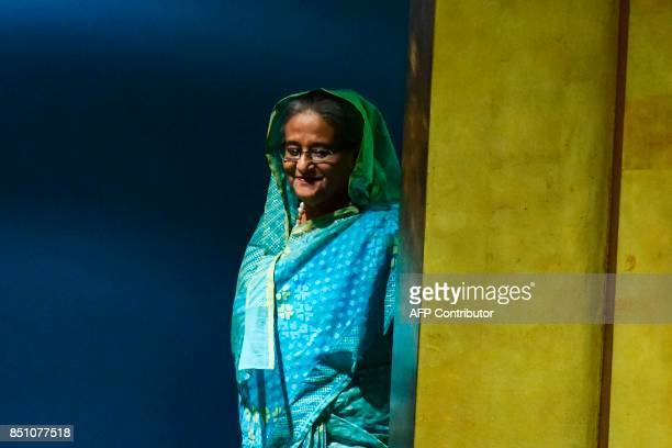 Bangladeshs Prime Minister Sheikh Hasina arrives to address the 72nd Session of the United Nations General assembly at the UN headquarters in New...