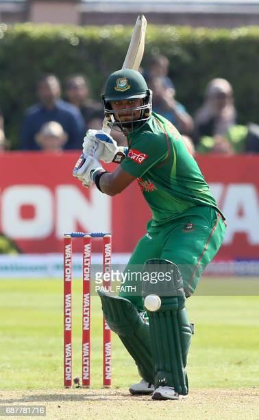 Bangladesh's Sabbir Rahman bats during the TriSeries final OneDay International between Bangladesh and New Zealand at Clontarf cricket ground in...
