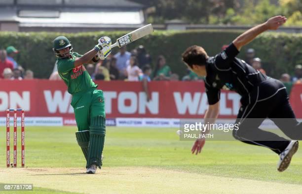 Bangladesh's Sabbir Rahman bats off the bowling of New Zealand's Hamish Bennett during the TriSeries final OneDay International between Bangladesh...