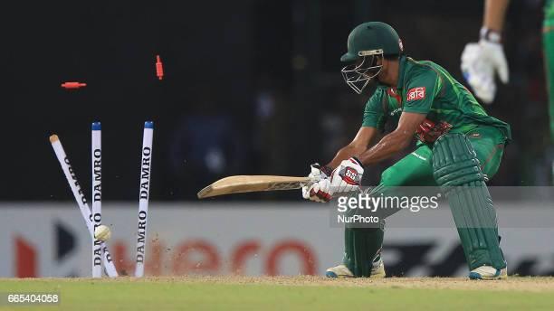 Bangladesh's Sabbir Rahman is bowled out during 2nd and final T20 International cricket match between Sri Lanka and Bangladesh at R Premadasa Stadium...