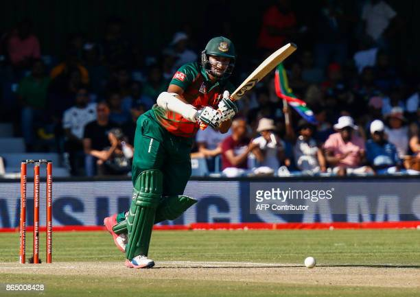 Bangladesh's Shakib Al Hasan plays a shot during the ODI OneDay International match Bangladesh vs South Africa at the Buffalo Park Cricket Grounds in...