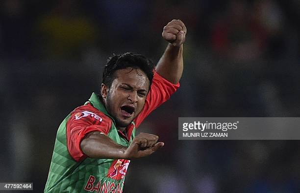 Bangladesh's Shakib Al Hasan reacts after the dismissal of the Indian cricket captain Mahendra Singh Dhoni during the first One Day International...