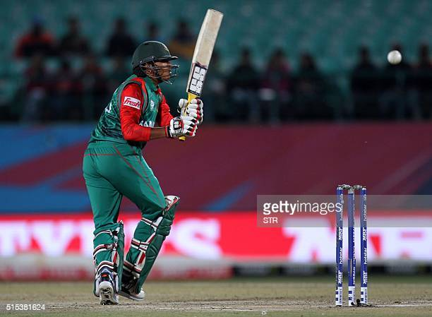 Bangladesh's Soumya Sarkar plays a shot during the qualifying match for the World T20 cricket tournament between Bangladesh and Oman at The Himachal...