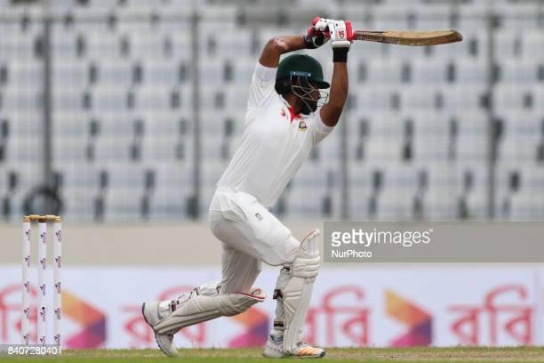 Bangladesh's Tamim Iqbal Batting during day three of the First Test match between Bangladesh and Australia at Shere Bangla National Stadium on August...