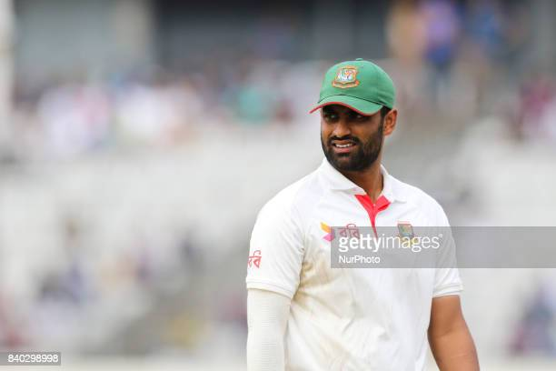 Bangladesh's Tamim Iqbal fields against Australia during day two of the First Test match between Bangladesh and Australia at Shere Bangla National...