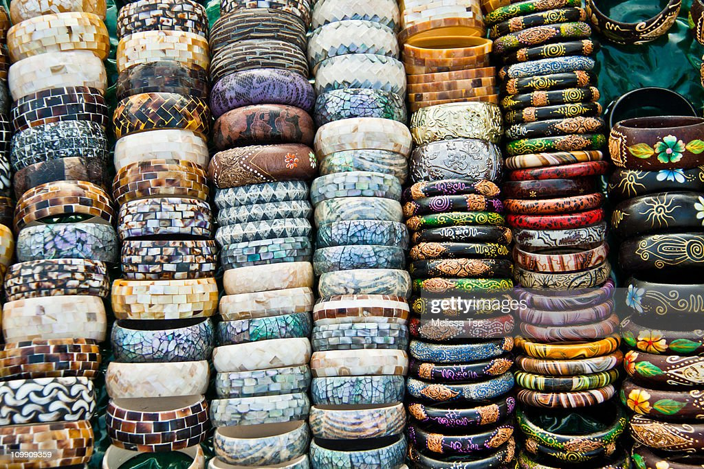 Bangles and bracelets for sale in Bali, Indonesia : Stock Photo