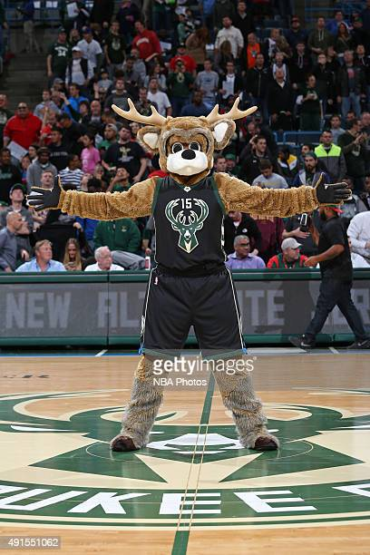 Bango of the Milwaukee Bucks participates in the 3rd Annual Open Practice and Fan Fest on October 3 2015 at the BMO Harris Bradley Center in...