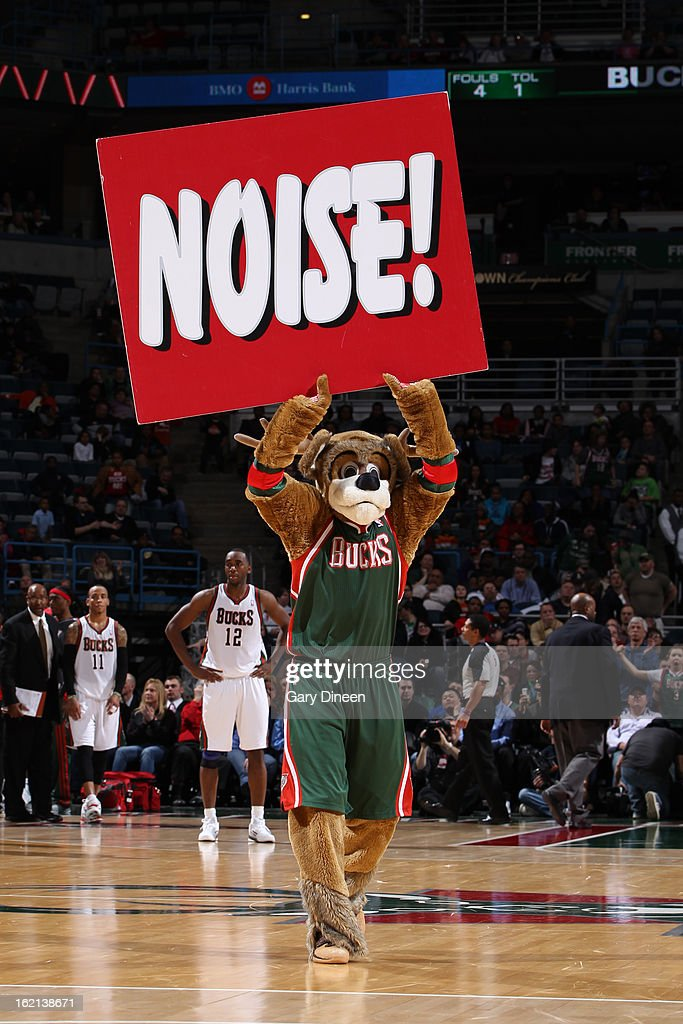 Bango the mascot of the Milwaukee Bucks entertains the crowd during the game against the Philadelphia 76ers on February 13, 2013 at the BMO Harris Bradley Center in Milwaukee, Wisconsin.