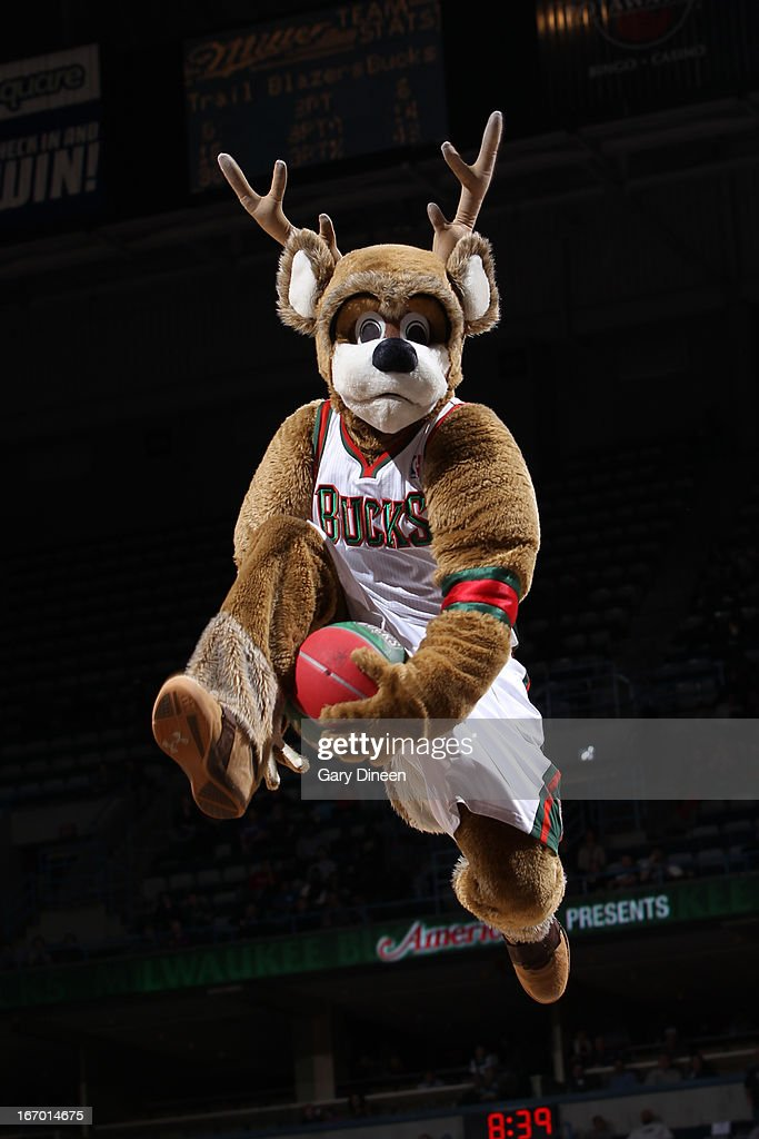 Bango the mascot of the Milwaukee Bucks goes up for a dunk on March 19, 2013 at the BMO Harris Bradley Center in Milwaukee, Wisconsin.