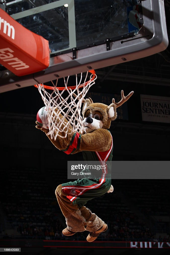 Bango the Milwaukee Bucks mascot dunks the ball during haltime in the game against the Detroit Pistons on January 11, 2013 at the BMO Harris Bradley Center in Milwaukee, Wisconsin.