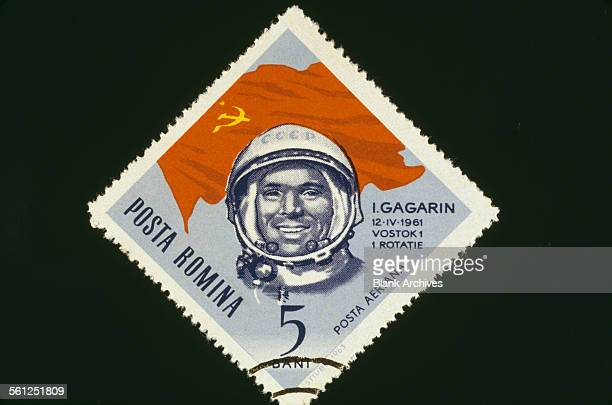 A 5 bani postage stamp from Romania featuring Russian cosmonaut Yuri Gagarin circa 1961 Gagarin became the first man in space when he orbited the...