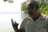 Banjo Joel speaks to the Asahi Shimbun reporter on January 12 2014 in Ejit Island Marshall Islands Banjo returned to Bikini Atoll in 1974 and stayed...