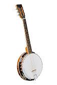 The image of white banjo isolated under the white background