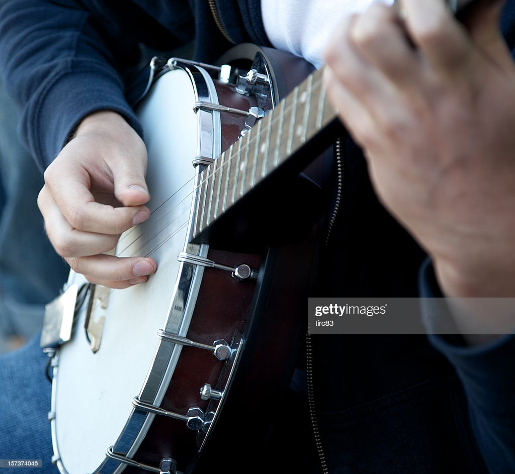 Banjo player hands close shot