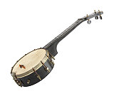 Very old weathered Banjo with 1 string missing. Isolated on white background
