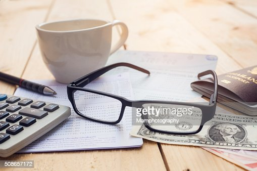 Bank account Pen,dollar,glasses : Stock Photo