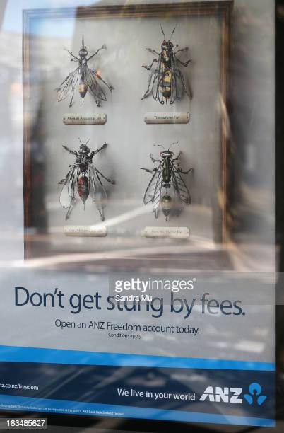 ANZ bank advertising is seen inside the branch window after a press conference announcing the class suit to reclaim bank fees on March 11 2013 in...