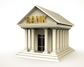 Bank building in antique style with pillar. 3d illustration