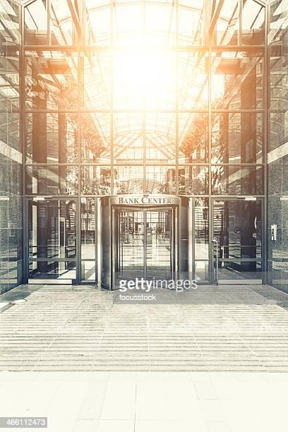 Bank center entrance